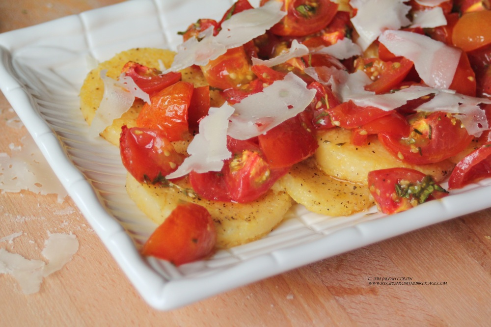 Sweet, tangy cherry tomatoes are roasted and served over grilled polenta.
