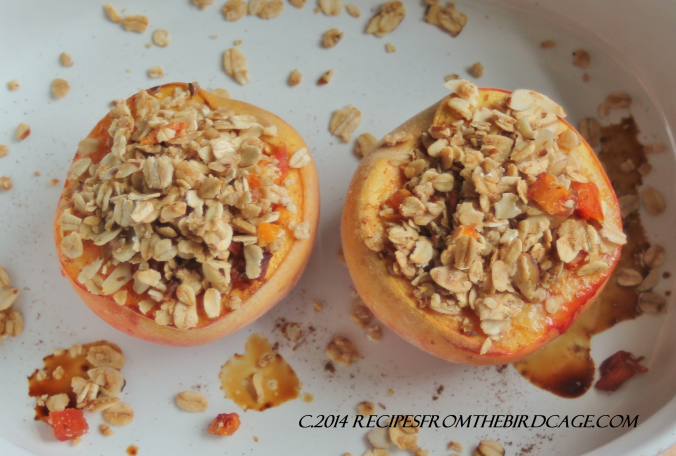 Granola topped Roasted Peaches