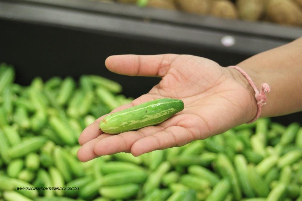 I saw these cute, little veggies called tindora. So cute! So tiny!