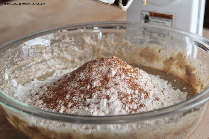Sprinkling the dry ingredients helps ensure no nasty baking powder lumps in your bread.