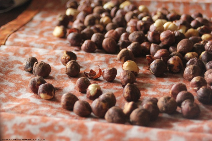 I roasted hazelnuts in a 350 degree oven for ten minutes, shaking the pan every 3 minutes until fragrant.